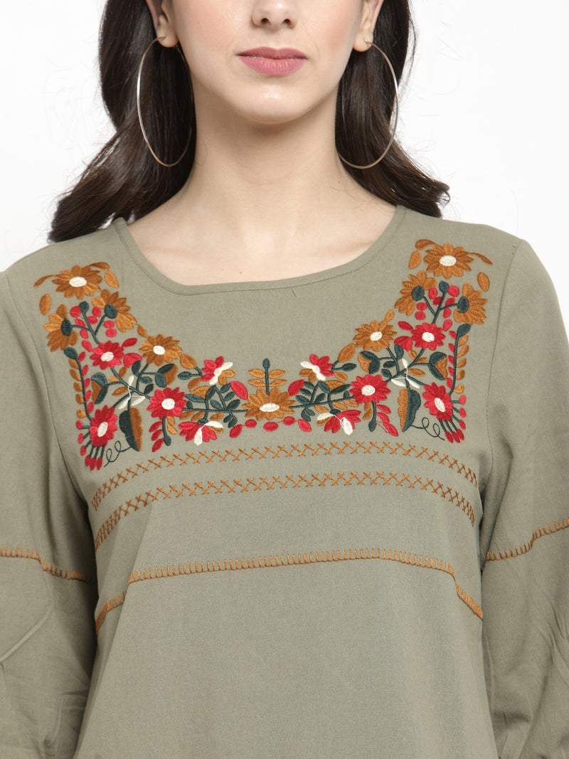 Women Green Regular Fitted Top With Floral Embroidery
