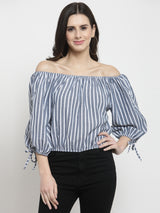 Women Grey Striped Off Shoulder Top With Drawstring On Sleeve