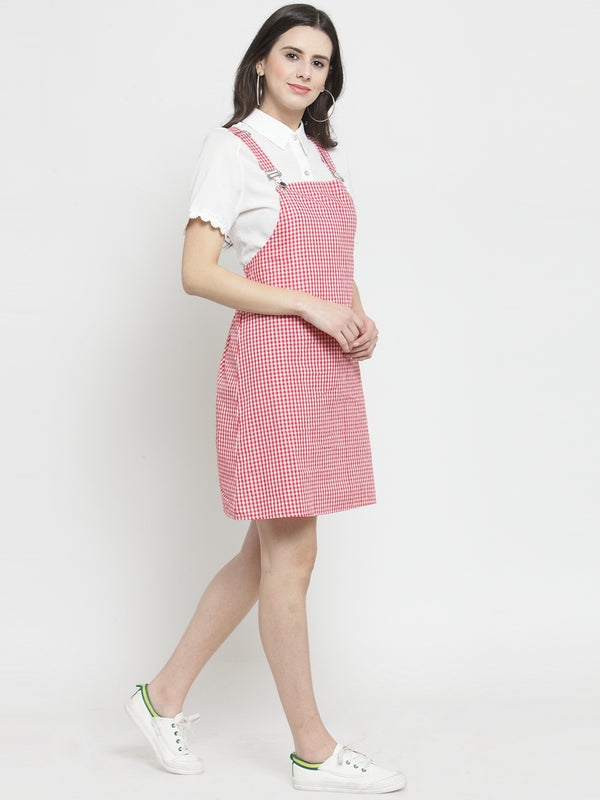 Women Red Checked Pinafore Dress