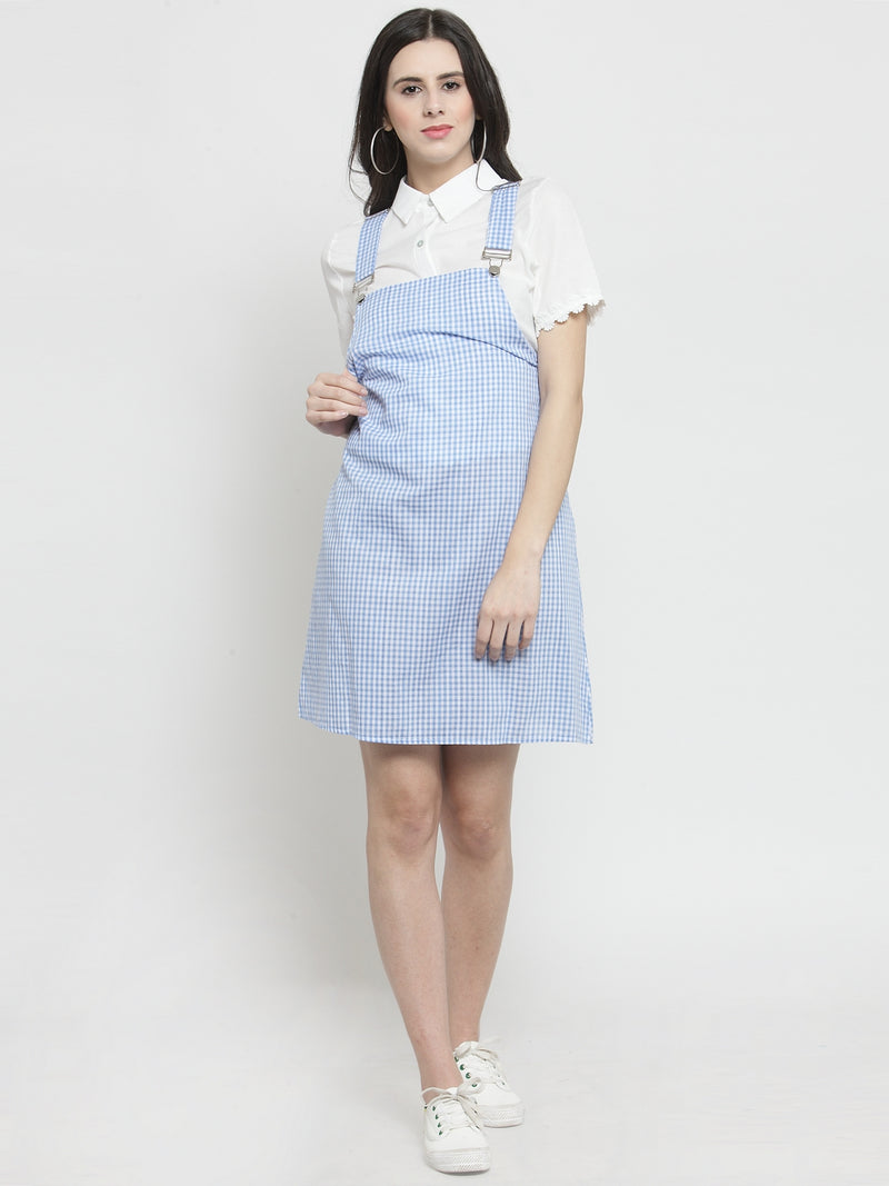 Women Navy Blue Checked Pinafore Dress