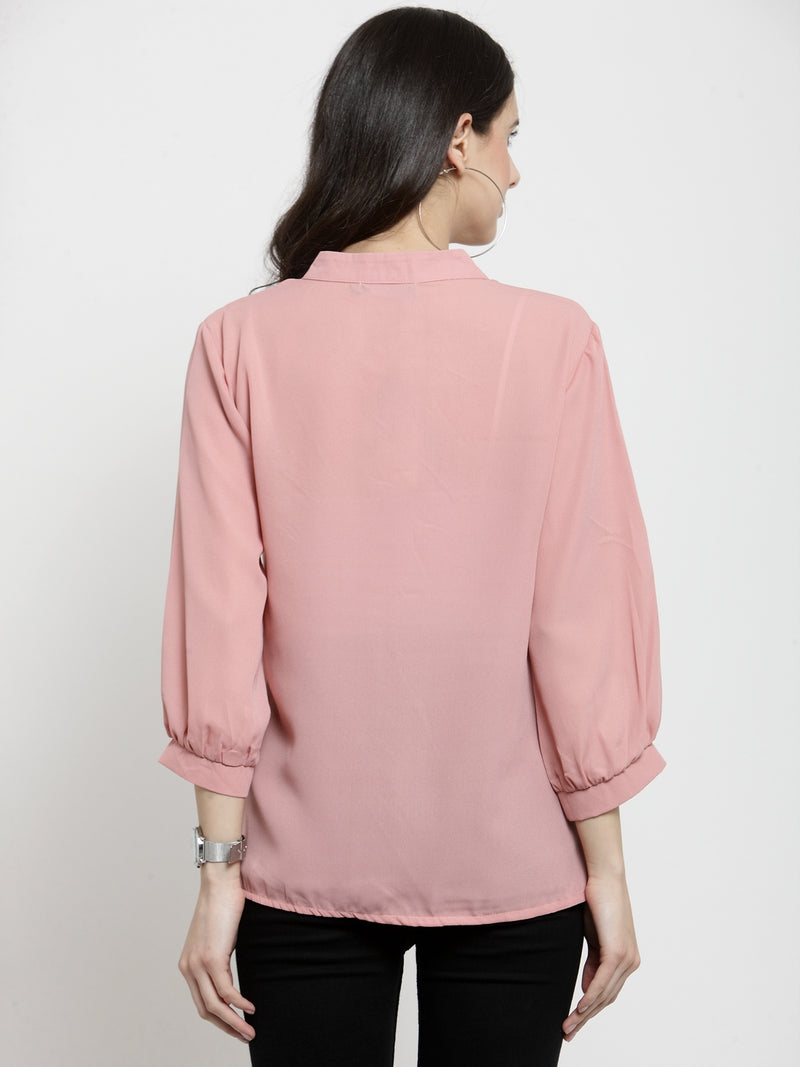Women Pink Embroidered Mandarin Collar Top