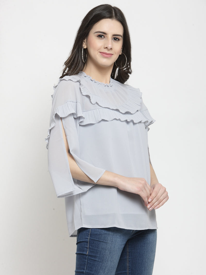 Women Solid Grey Round Neck Top With Frills