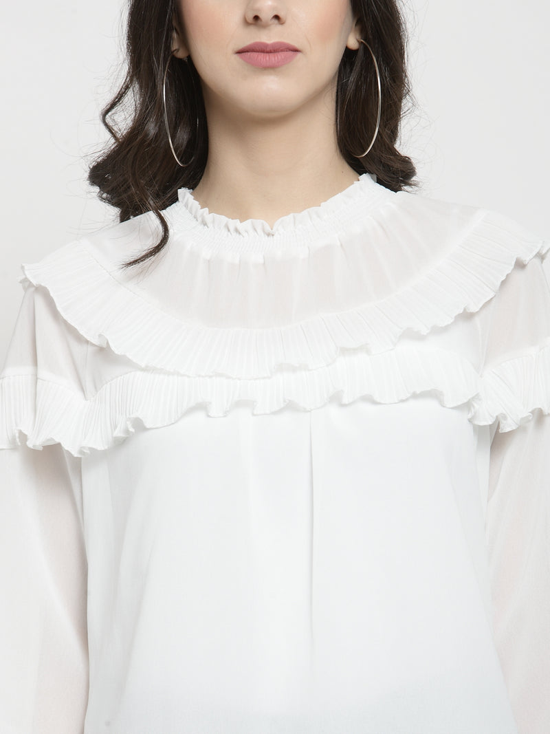 Women Solid Off-White Round Neck Top With Frills