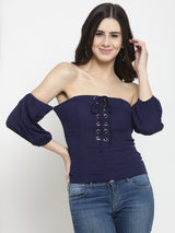 Women Navy Blue Solid Off Shoulder Fitted Tops