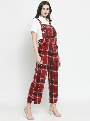 Women Maroon Checked Round Neck Straight Fit Dungarees
