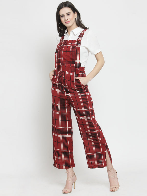 Women Red Checked Straight Fit Dungarees