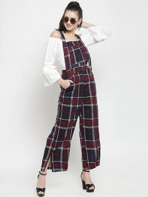 Women Navy Blue Checked Round Neck Straight Fit Dungarees