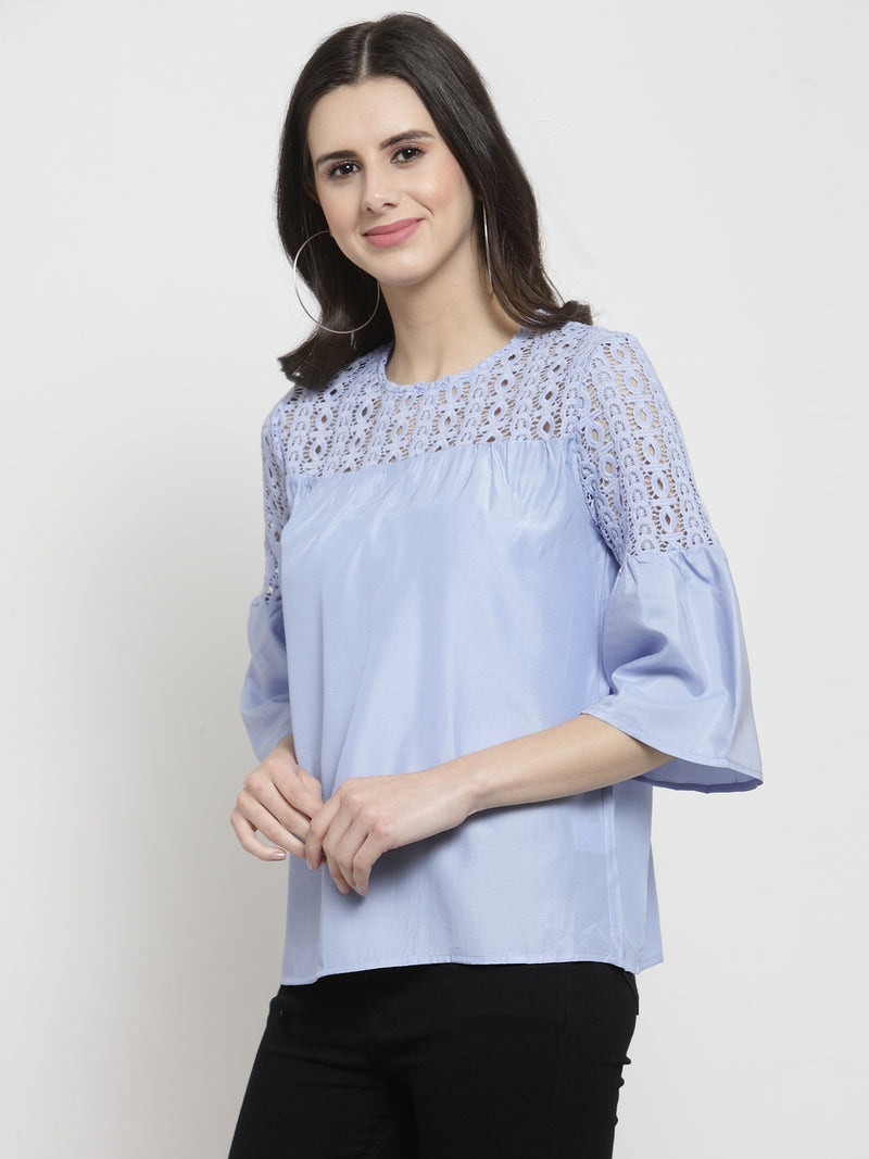 Women Blue Cotton Satin Blouse With Lace Detail