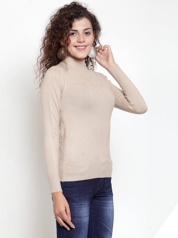 Women Beige Turtle Neck Full Sleeve Skeevi Pullover