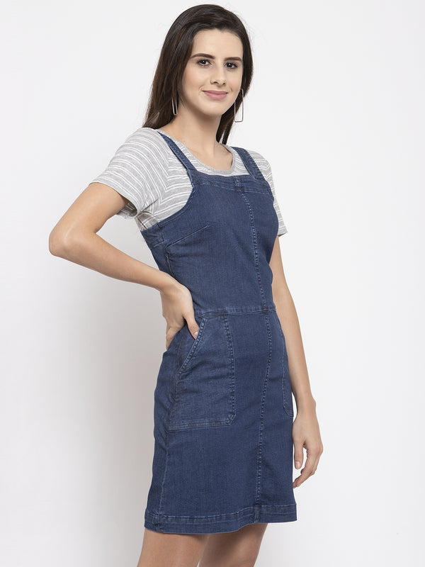 Women Dyed Blue Shoulder Straps Dress