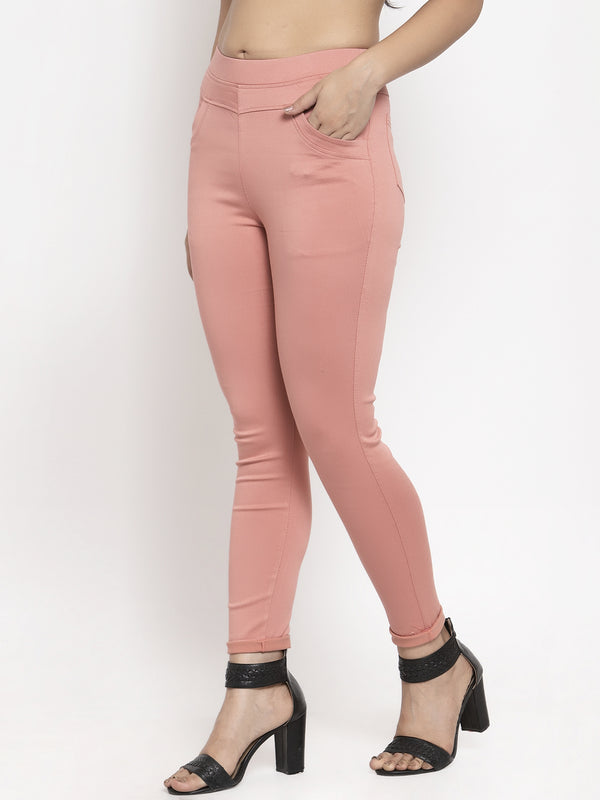 Women Pink Solid Jegging