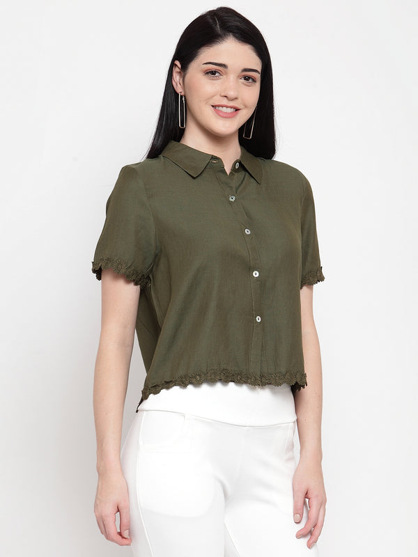 Women Solid Olive Shirt With Floral Hemline