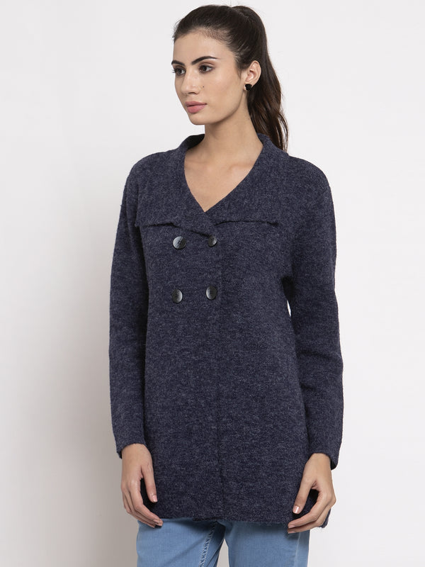 Women Blue Long Sleeves Solid Coat