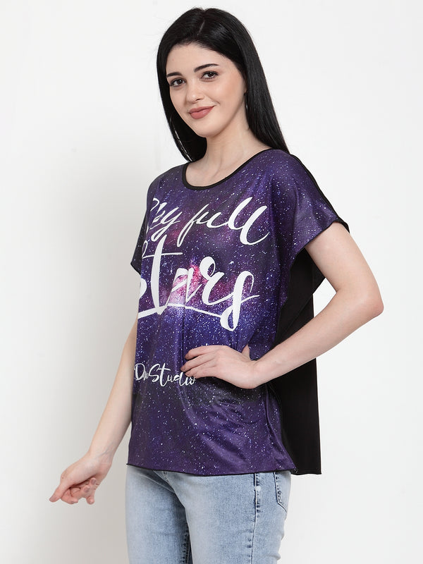 Women Purple Polyester Round neck  Top