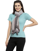 Women Grey Scarf With Seamless Pattern