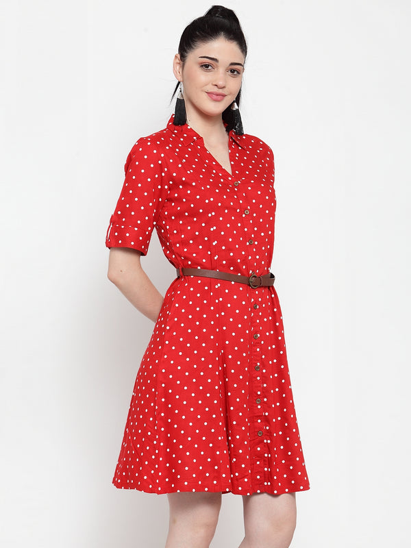 Women Red Cotton Polka Dots Knee Length Dress