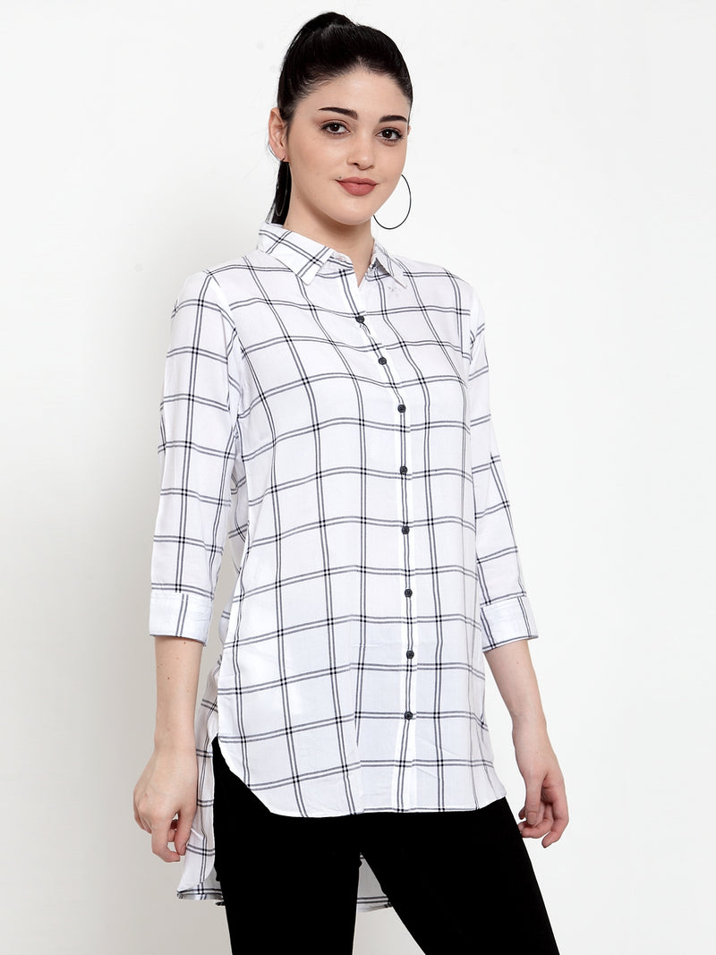 Women White Modal Shirt Collar  Shirt