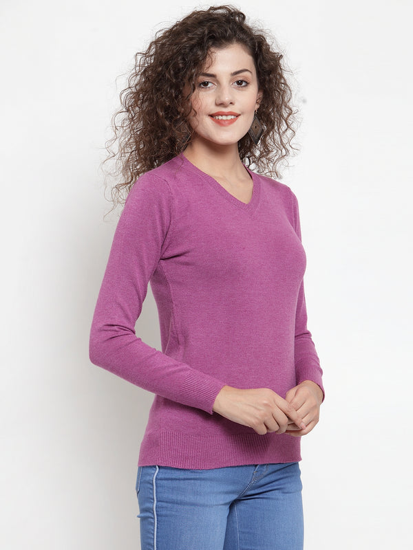 Women Mauve V-Neck Full Sleeve Skeevi Pullover
