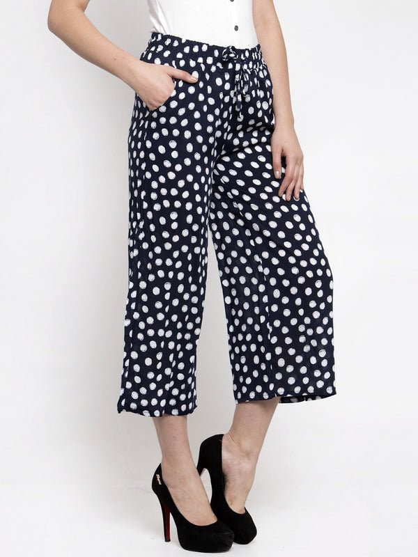 Women Printed Navy Blue Rayon Lower