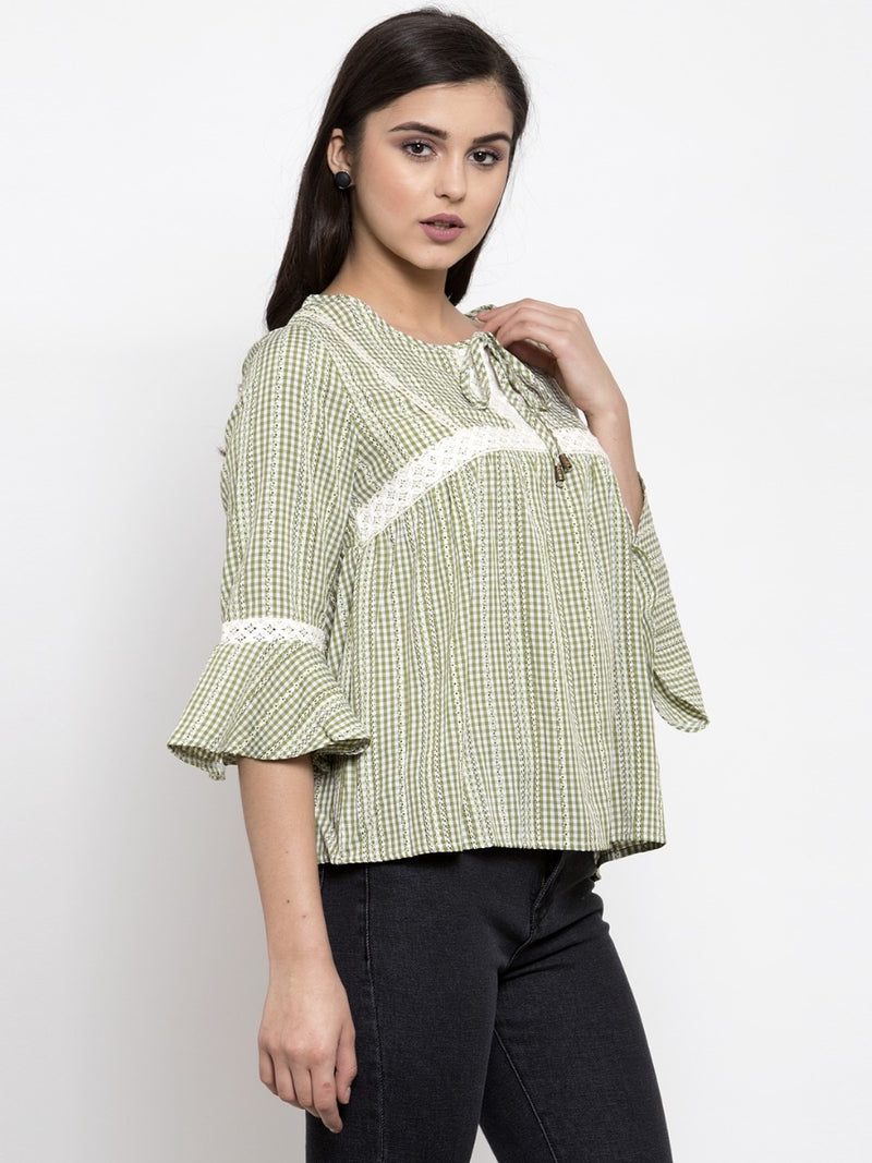 Women Checked Green Top With Crochet Details
