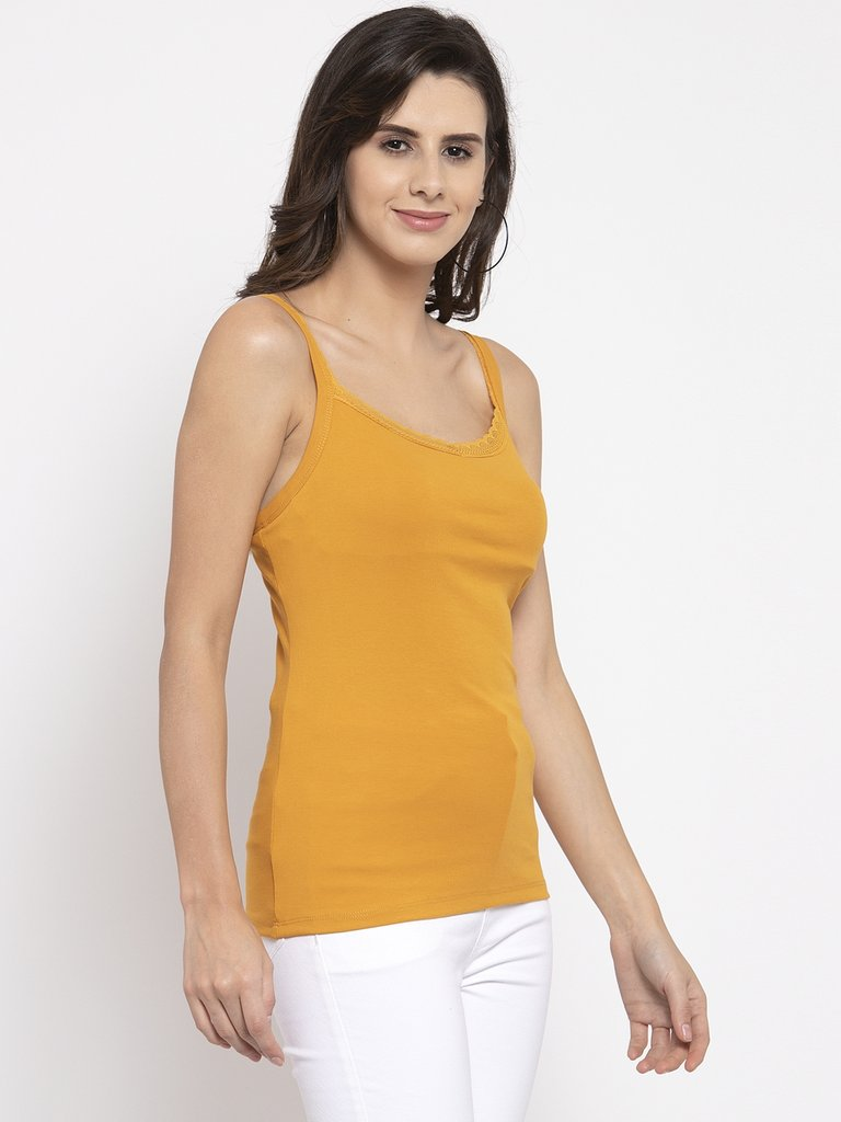 Plain Mustard And Black Combo Of 2 Scoop Neck Tops