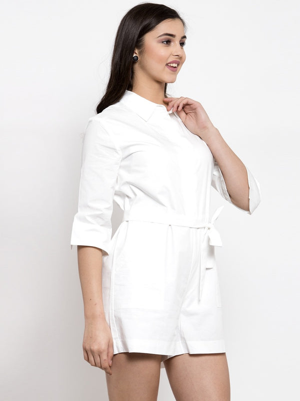Women White Solid Shirt Collar Jumpsuit