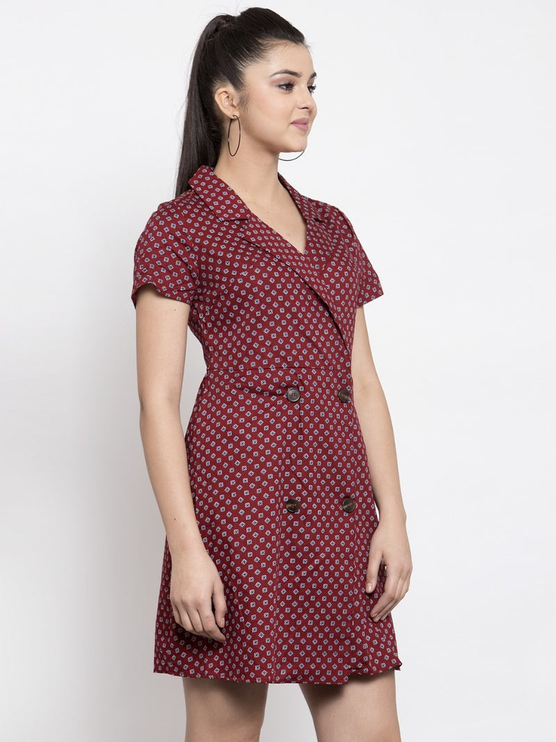 Women Printed Maroon Shirt Collar Dress
