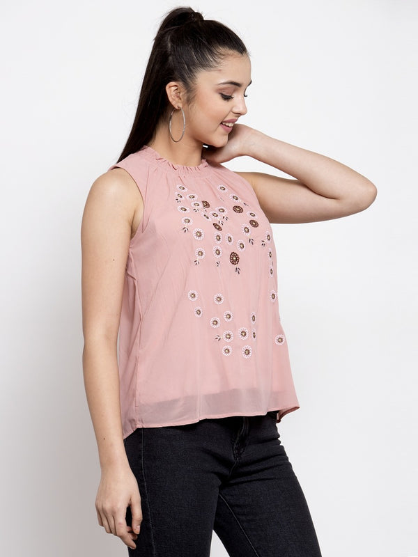 Women Embroidered Pink Round Smocked Neck Top