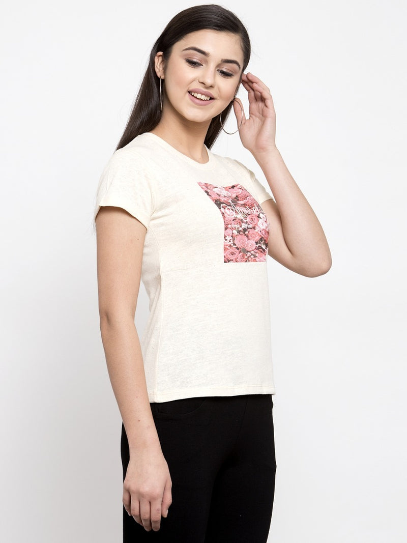 Women Beige Floral Graphic Printed T-Shirt