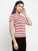 Women Striped Red Round Neck Tshirt