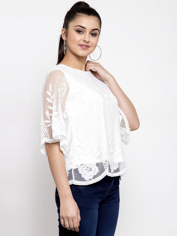 Women Embroidered White Round Neck Net Top