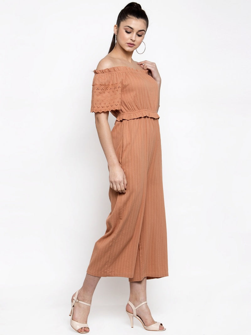 Women Solid Rust Off-Shoulder Jumpsuit