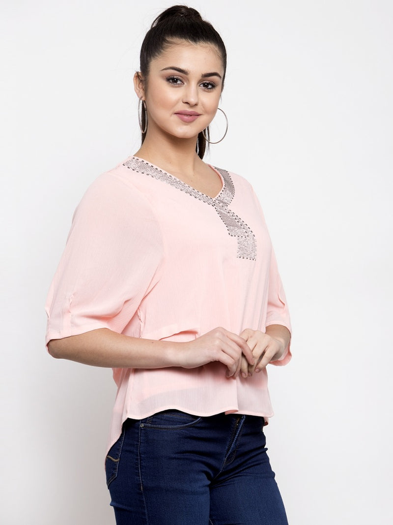 Women Pink Georgette Top With Embellishments