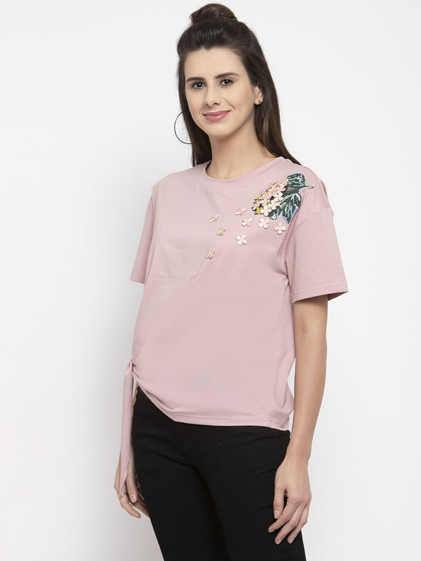 Women Printed Pink Knot Round Neck Top