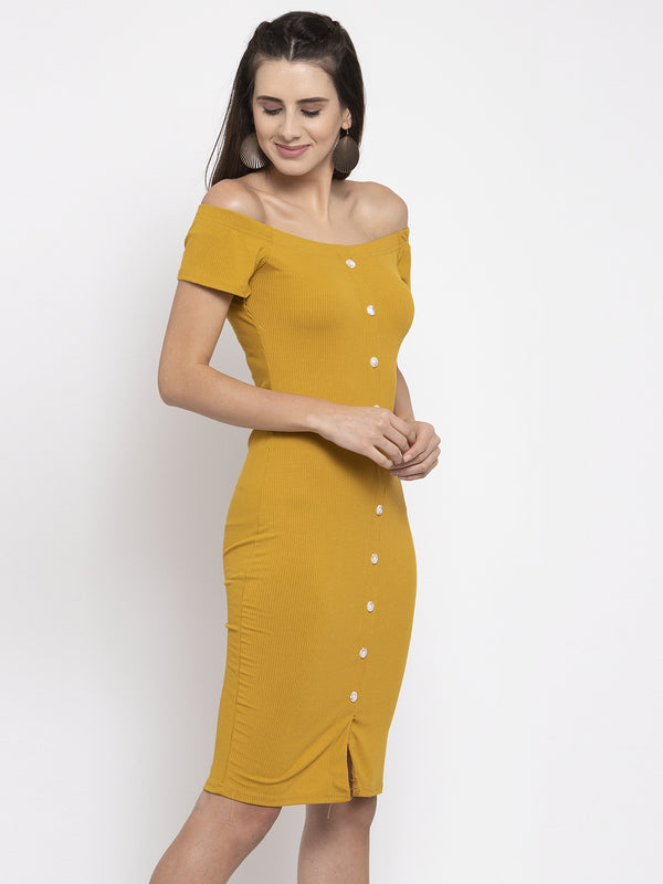 Women Solid Mustard Off-Shoulder Bodycon Dress