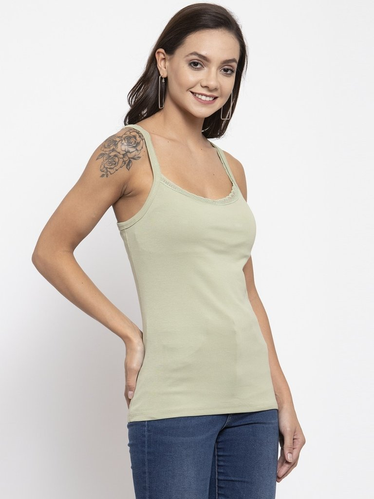 Plain Green And Black Combo Of 2  Scoop Neck Tops