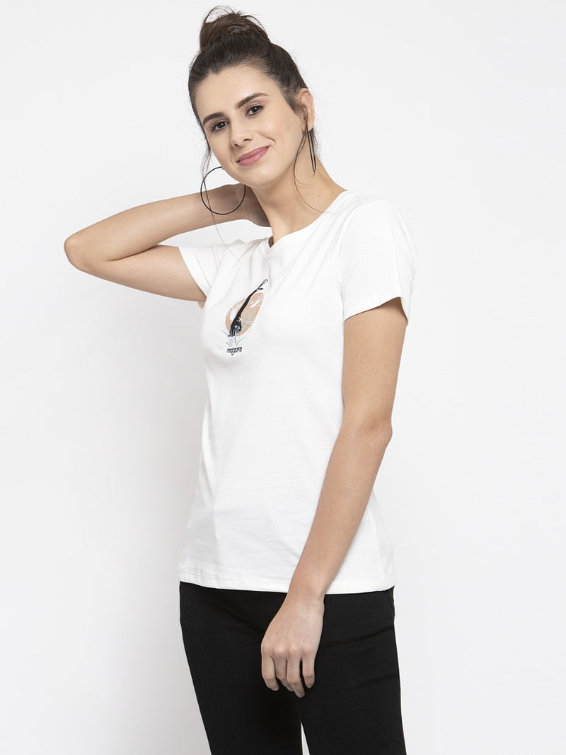 Women Printed White T-Shirt