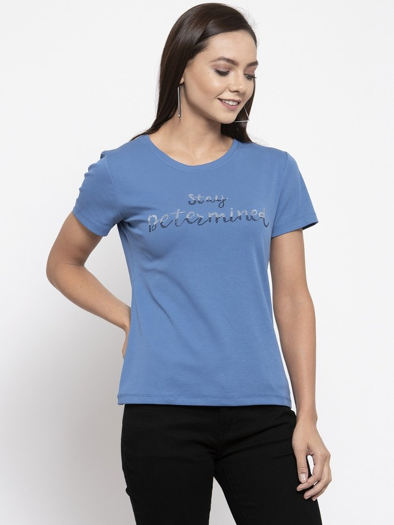 Ladies Printed Tan And Blue Combo Of 2 T-Shirts