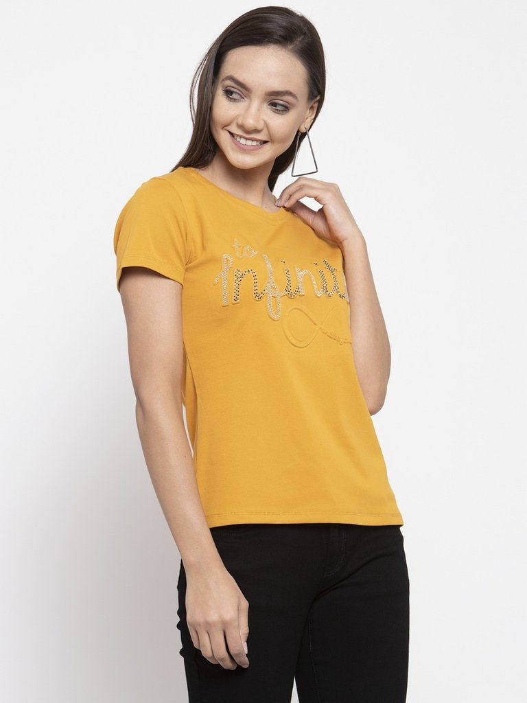 Ladies Printed Mustard And Navy Combo Of 2 T-Shirts