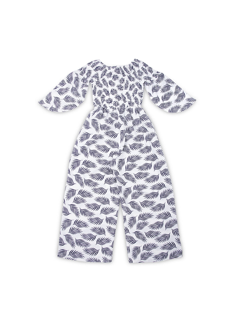 Kids White Printed Off-Shoulder Jumpsuit