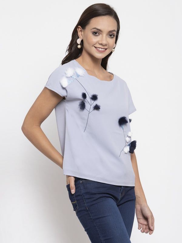 Women Printed Grey Top With Furr Ball Details