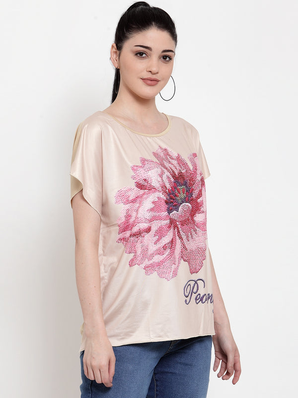 Women Beige Polyester Round neck  Top