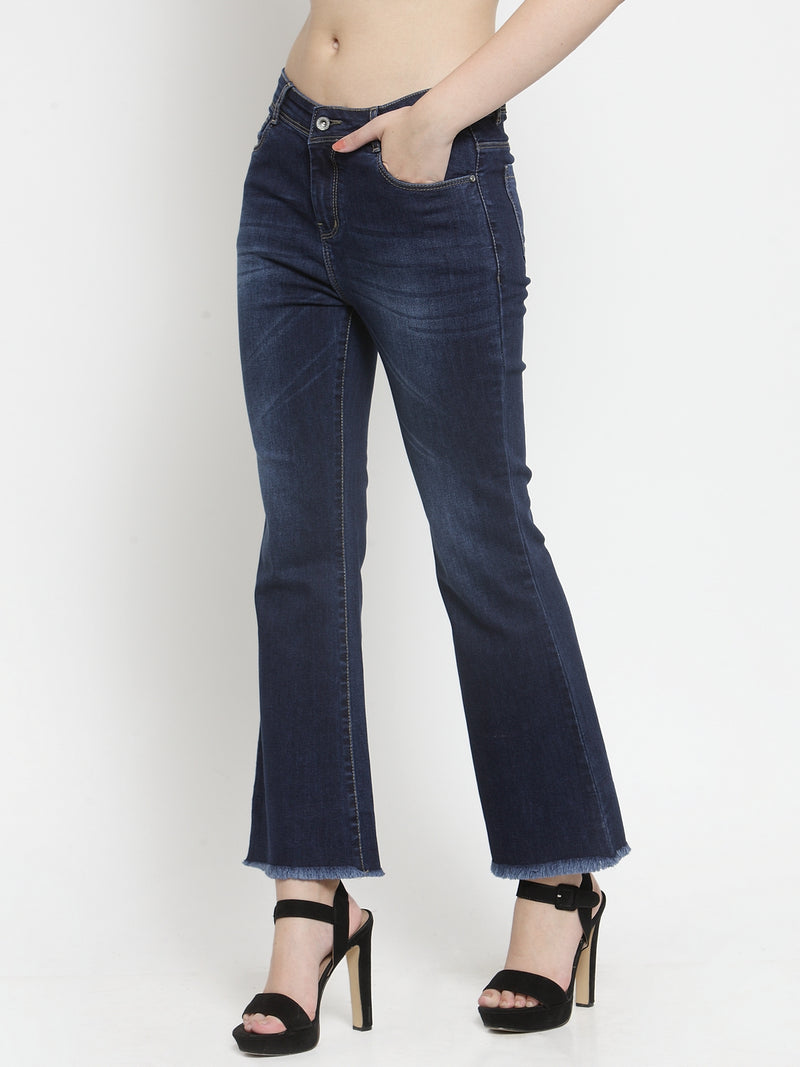 Women Blue Flared Denim Jeans