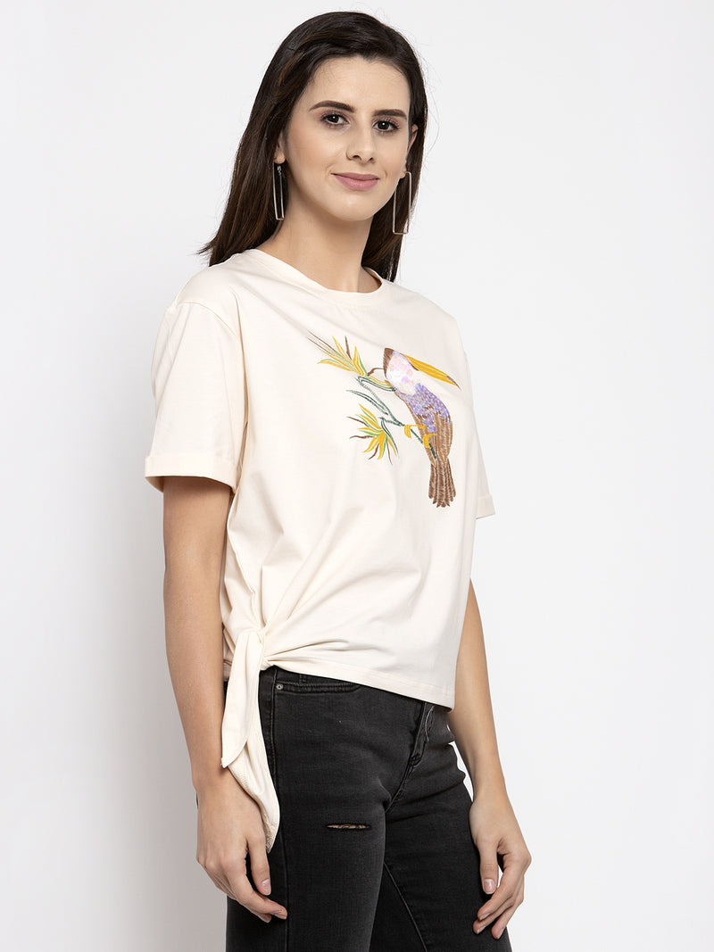 Women Printed Cream Knot Round Neck Top