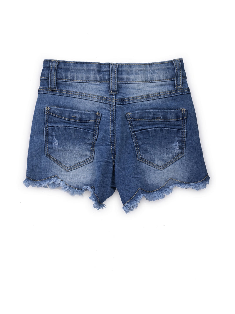 Kids Denim Shorts With Embellished Pearls