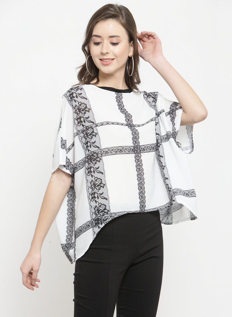 Women White Floral Checked Pattern Top