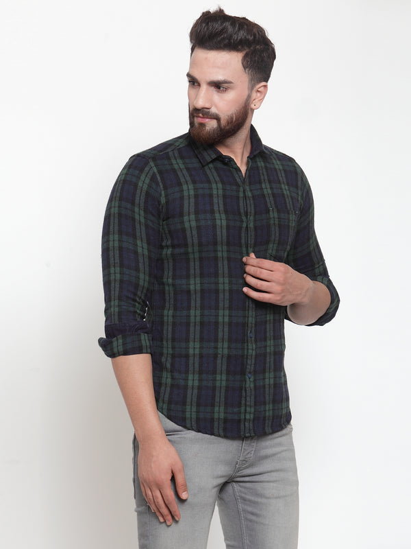Men Green & Navy Blue Regular Fit Checked Casual Shirt