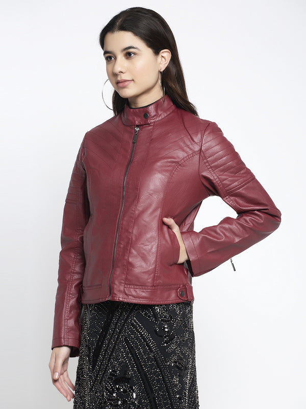 Women Maroon T- Neck Solid Jacket