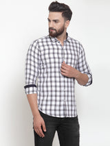 Men White & Blue Regular Fit Checked Casual Shirt