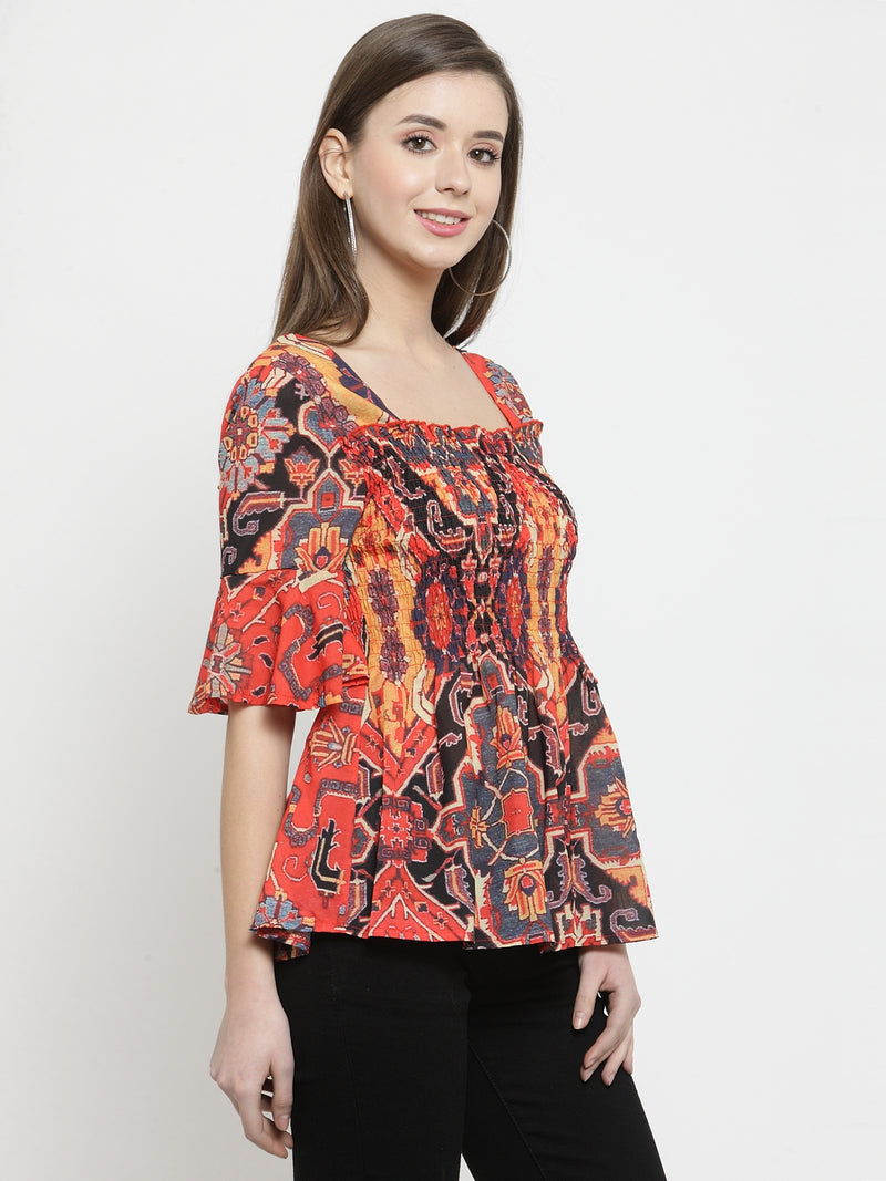 Women Red Square Neck Printed Top